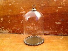 1 ~ Clear Large Dome Cloche Glass Bottle Lace Pendant  DIY Antique Bronze Base and Top Terrarium Charm Apothecary Bottle Jewelry Supplies For a tiny terrarium necklace