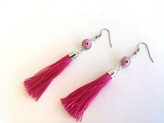 Tassel Earrings Evil Eye Earrings  Pink Earrings by GULDENTAKI