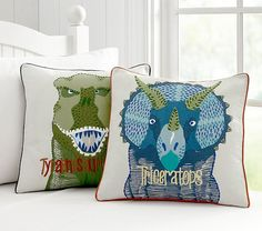 Find kids pillows in cute designs at Pottery Barn Kids. Shop kids throw pillows that will add style and personality to the playroom. Dinosaur Kids Room, Dinosaur Bedroom, Big Boy Bedrooms, Boy Rooms, Kids Rooms, Striped Quilt, Green Quilt, Quilt Bedding, Baby Furniture