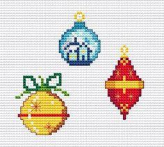 3 Mini Christmas SPHERES, Easy Cross Stitch PDF Pattern. $2.00, via Etsy.