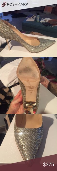 Jimmy choo women's silver glitter pump These shoes are beautiful. A gold stiletto heel, tiny little gold leather tip on the toe, silver sparkle. They are amazing. Have been worn 3x Jimmy Choo Shoes Heels