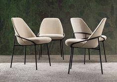 Upholstered fabric chair JACKIE By BertO design Castello Lagravinese Dinning Chairs Modern, Contemporary Dining Chairs, Dining Table Chairs, Chair Design, Furniture Design, Esstisch Design, Kitchen Room Design, Chair Fabric, Decoration