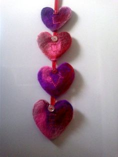 Needle-felted heart garland - personalised - LOVE - reds,pinks,purples via Etsy