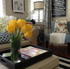 Love these living room colors and yellow tulips are my favorite! | A Thoughtful Place