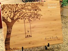 Personalized Cutting Board Swing And Birds Custom Wedding Anniversary Kitchen…