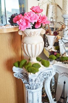 Repainting Roman Column from Ivanka's little treasures-Black and White D...