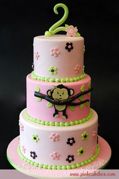 little girls 2nd birthday cake with pink with monkey's
