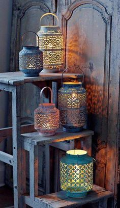 7 Top Bohemian Style Decor Tips with Adorable Interior Ideas - Bohemian Home İdeas Moroccan Lanterns, Moroccan Decor, Moroccan Style, Moroccan Mirror, Porch Makeover, Mediterranean Design, Outdoor Light Fixtures, Outdoor Lighting, Lighting Ideas
