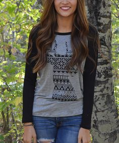 Look at this Gray & Black Geometric Deer Baseball Tee on #zulily today!