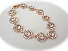 Gold crystal rhinestone bracelet  Bridal by QueenMeJewelryLLC