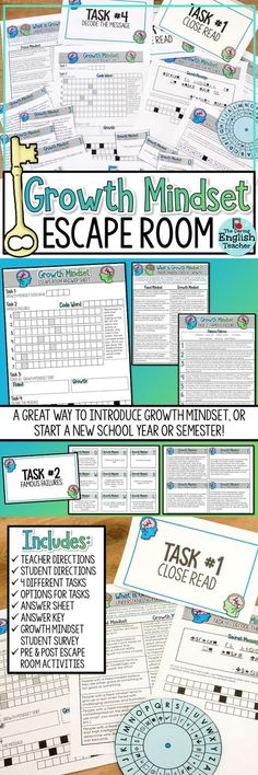 Middle school- Create a growth mindset in your classroom with a Growth Mindset Escape Room Activity. Students will complete four tasks as they learn about growth mindset. Escape Room, Growth Mindset Classroom, Breakout Boxes, Beginning Of School, Middle School, High School, Grades, Classroom Community, Too Cool For School