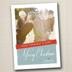 christmas photo card - modern ribbon.. $16.00, via Etsy.