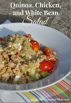 Quinoa, Chicken, and White Bean Salad -- a healthy and easy, high protein, high fiber meal!  www.TheSeasonedMom.com