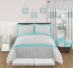 turquoise bedding | Zig Zag Turquoise and Gray Bedding Set by Sweet Jojo Designs