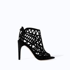 Image 1 of OPEN WORK HIGH HEEL LEATHER SANDAL from Zara