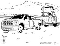 Load up on some fun. Use the color key and share your masterpiece. Truck Coloring Pages, Coloring Books, Chevy Silverado Hd, Cool Car Drawings, Gta 5 Online, Jeep Truck, Baby Safety, Dream Garage, Stay Safe