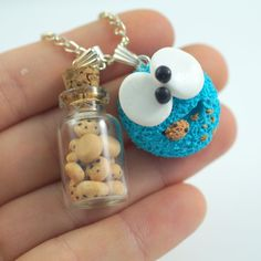 Cookie Monster, Sesame Street, necklace,bag charm, handmade, polymer clay, gift #FIMO