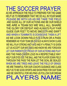 The Soccer Prayer personalized with photo 11 X 14 by joflo33us, Also available with Baseball Prayer, Softball Prayer, Football Prayer or Basketball Prayer.
