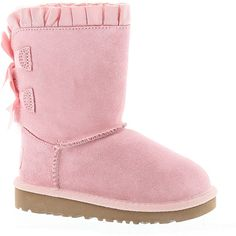 UGG? Bailey Bow Ruffles (Girls' Toddler-Youth) ($140) ❤ liked on Polyvore featuring shoes, light pink, light pink shoes, ruffled shoes and bow shoes