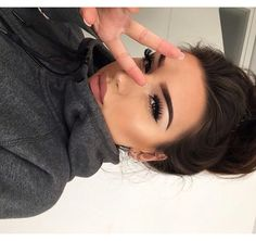 Bold lashes and brows.