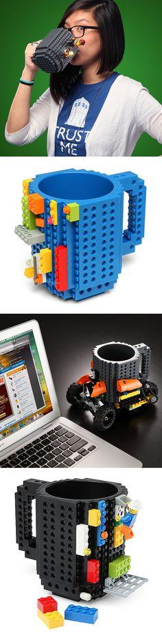 Build Yourself A New Mug Design Every Morning With The Lego Mug. Compatible with Lego, Pixelblocks, Mega Bloks, KRE-O And K'NEX.