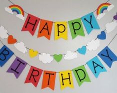Happy birthday banner Items similar to Colorful Birthday Tags-Toppers on Etsy Birthday Tags, Unicorn Birthday Parties, First Birthday Parties, Birthday Party Decorations, First Birthdays, 4th Birthday, Diy Rainbow Party Decorations, Diy Rainbow Birthday Party, Preschool Birthday Board