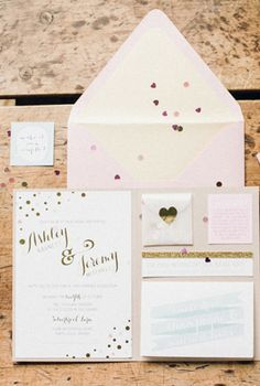 I love all of the different sized papers in this set. It is whimsical and fun! | Feminine blush invitation set wedding