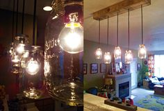 Mason Jar & Rustic Pallet Light Fixture DIY on twenty8divine.com