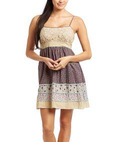 Another great find on #zulily! Pink & Tan Tiered Empire-Waist Dress by Janet Paris #zulilyfinds