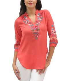 Look what I found on #zulily! Coral Embroidered Kelley Tunic by Caite #zulilyfinds