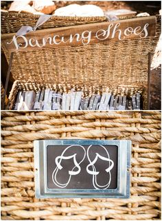 Wicker basket of grey flip-flops, comfortable dancing shoes for guests at the wedding reception // Viera Photographics