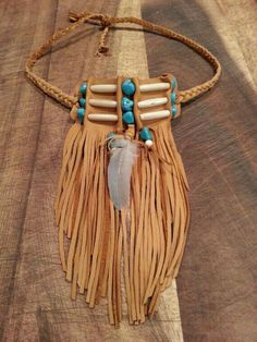 """Native American bone beaded fringed choker by TribalTerri on Etsy.Note the folded leather around the nested beads, and the fringe gives such a nice sense of """"flow"""". Indian Jewelry, Boho Jewelry, Jewelry Crafts, Beaded Jewelry, Jewelery, Handmade Jewelry, Vintage Jewelry, Fashion Jewelry, Native American Crafts"""