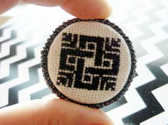 greathomepics:  Cross Stitch Brooch, Embroidered brooch, Folk , Traditional, Ethnic, Blackwork Celtic knot