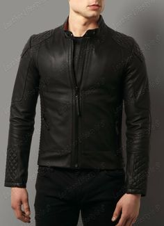 New Men's Leather Jacket Black Slim fit Motorcycle Real lambskin jacket D12…