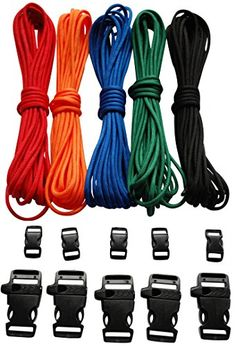 Paracord Bracelet Kit - 100 Feet - 550 Lb Paracord - Five Colors (Red, Black, Green, Blue, and Orange) Each 20 Feet = 100 Feet Total - Paracord Crafting Kit Comes with 10 Black Side Release Buckles Triton Paracord http://www.amazon.com/dp/B00WRI3LU4/ref=cm_sw_r_pi_dp_eEBBvb010PJ3A