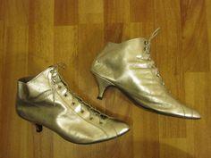 Vtg 80s Punk Rocker Metallic Silver Leather Victorian Style Lace Up Kitten Heel Ankle Boots 10. $84.00, via Etsy.