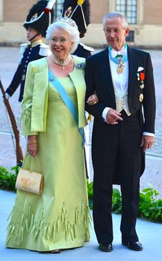 """Princess Christina, sister of King Carl XVI Gustaf of Sweden, with her husband Tord Magnuson arriving at the Royal Chapel, Stockholm; wedding of Princess Madeleine of Sweden and mr. Christopher """"Chris"""" O'Neill, June 8th 2013"""