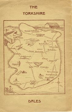 """ghosts-in-the-tv: """" Map of the Yorkhire Dales from the first issue of """"The Yorkshire Dalesman"""" magazine, """" Yorkshire Dales, Vintage Travel Posters, Vintage World Maps, Bolton Abbey, Barnard Castle, Train Posters, Where The Heart Is, Family History"""