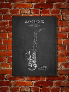 1937 Saxophone Patent Art Decor Drawing. Available as poster or canvas in various colors. #decor #inventions #patents #instruments
