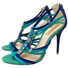 Pre-owned Schutz Blue Green Pumps ($141) ❤ liked on Polyvore featuring shoes, pumps, heels, blue green, blue leather shoes, green shoes, strappy shoes, blue heel pumps and heel pump