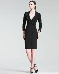 Armani OneButton Coat Dress in Black | Lyst