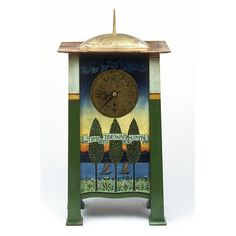 Clock  Place of origin: England, Great Britain (designed)  London, England (probably, made)  Date: 1895 (designed)  1896-1901 (made)  Artist/Maker: C. F. A. Voysey, born 1857 - died 1941 (designer)  Coote, Frederick, born 1894 (probably, maker)  Camerer, Kuss & Co. (maker)  Materials and Techniques: [Clock] Painted and gilded mahogany  [Pendulum] Brass and steel  Credit Line: Purchased with the assistance of The Art Fund and the Friends of the V&A