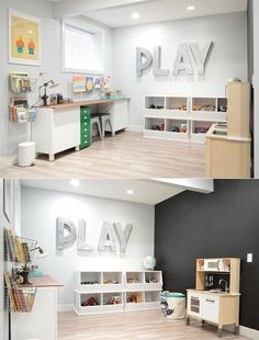 love the oversized metal letters. could use a variety of words: faith directed w… love the oversized metal letters. could use a variety of words: faith directed words. adds interest and purpose but keeps the look clean. Pin: 640 x 841 Office Playroom, Playroom Organization, Playroom Design, Playroom Decor, Kid Playroom, Organization Ideas, Modern Playroom, Kids Playroom Storage, Organized Playroom