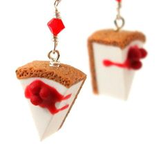 Cherry cheesecake earrings by inediblejewelry on Etsy, $24.00