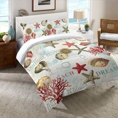 Dream Beach Shells Duvet Cover from Laural Home. Shop more products from Laural Home on Wanelo. Beach Bedding, Coastal Bedding, Coastal Bedrooms, Coastal Living Rooms, Luxury Bedding, Bedroom Beach, Master Bedroom, Nautical Bedding, Tropical Bedrooms