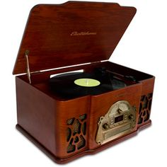 Electrohome EANOS501 3-In-1 Real Wood Stereo System with AM/FM Radio, CD and Full Size Record Player