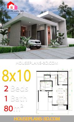 House design with 2 Bedrooms Terrace roof - House Plans Simple House Design, House Front Design, Minimalist House Design, Tiny House Design, Modern House Design, Sims House Plans, Small House Plans, House Floor Plans, Modern Bungalow House