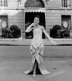 1959 - Yves Saint Laurent for Christian Dior Full-length satin evening gown by Willy Maywald, Paris