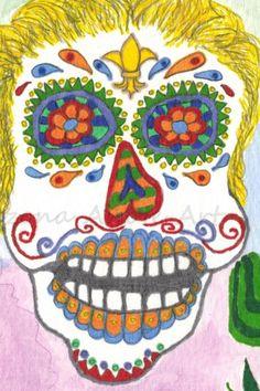 Print of Original Day of the Dead FleurdeLis Watercolor Painting 4x6 | ArizonaAhoteArt - Print on ArtFire