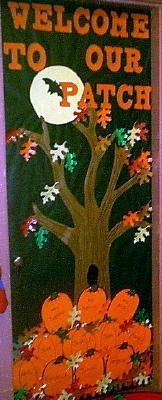 welcome to our pumpkin patch add student names to pumpkins and you have a cute idea for a halloween classroom door display